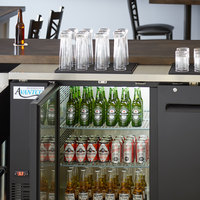 Avantco UBB-2-HC 59 inch Black Counter Height Solid Door Back Bar Refrigerator with LED Lighting