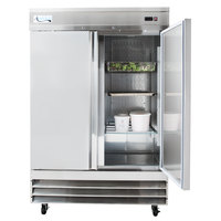 Avantco SS-2R-HC 54 inch Stainless Steel Solid Door Reach-In Refrigerator