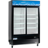 "Avantco GDS-47-HC 53"" Black Sliding Glass Door Merchandiser Refrigerator with LED Lighting"