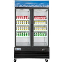 Avantco GDC-40-HC 48 inch Black Swing Glass Door Merchandiser Refrigerator with LED Lighting