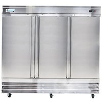Avantco SS-3F-HC 80 7/8 inch Stainless Steel Solid Door Reach-In Freezer