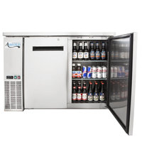 Avantco UBB-60-HC-S 60 inch Stainless Steel Counter Height Narrow Solid Door Back Bar Refrigerator with LED Lighting