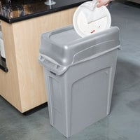 Rubbermaid Slim Jim 64 Qt. / 16 Gallon Gray Rectangular Trash Can with Gray Drop Shot Lid