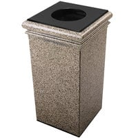 Commercial Zone 722120 StoneTec 30 Gallon Riverstone Square Trash Receptacle with Lid