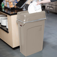 Rubbermaid Slim Jim 92 Qt. / 23 Gallon Beige Rectangular Trash Can with Beige Drop Shot Lid