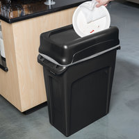 Rubbermaid Slim Jim 64 Qt. / 16 Gallon Black Rectangular Trash Can with Black Swing Lid