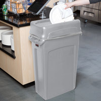 Rubbermaid Slim Jim 92 Qt. / 23 Gallon Gray Rectangular Trash Can with Gray Drop Shot Lid