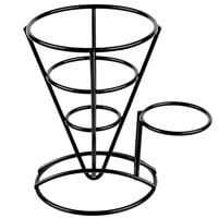 Clipper Mill by GET 4-361644 5 inch x 7 inch Black Wire Cone Basket with Ramekin Holder