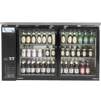 Avantco UBB-60G-HC 60 inch Black Counter Height Narrow Glass Door Back Bar Refrigerator with LED Lighting