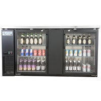 Avantco UBB-3G-HC 69 inch Black Counter Height Glass Door Back Bar Refrigerator with LED Lighting