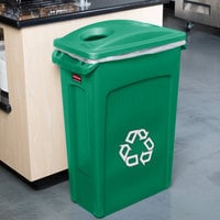 Rubbermaid Slim Jim 92 Qt. / 23 Gallon Green Rectangular Recycling Container with Green 2 Hole Lid