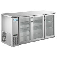 Avantco UBB-72G-HC-S 73 inch Stainless Steel Counter Height Narrow Glass Door Back Bar Refrigerator with LED Lighting