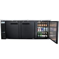 Avantco UBB-4-HC 90 inch Black Counter Height Solid Door Back Bar Refrigerator with LED Lighting