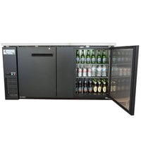 Avantco UBB-3-HC 69 inch Black Counter Height Solid Door Back Bar Refrigerator with LED Lighting