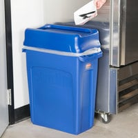 Rubbermaid Slim Jim 64 Qt. / 16 Gallon Blue Rectangular Trash Can with Blue Drop Shot Lid