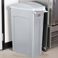 Rubbermaid Slim Jim 92 Qt. / 23 Gallon Light Gray Rectangular Trash Can with Light Gray Handled Lid
