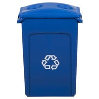Rubbermaid Slim Jim 92 Qt. / 23 Gallon Blue Rectangular Recycling Container with Blue 2 Hole Lid