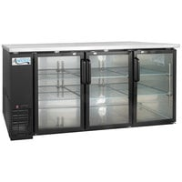 "Avantco UBB-72G-HC 73"" Black Counter Height Narrow Glass Door Back Bar Refrigerator with LED Lighting"