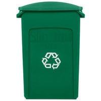 Rubbermaid Slim Jim 23 Gallon Green Rectangular Recycling Container with Green Slotted Lid