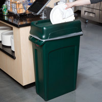 Rubbermaid Slim Jim 92 Qt. / 23 Gallon Green Rectangular Trash Can with Green Drop Shot Lid