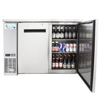 Avantco UBB-48-HC-S 48 inch Stainless Steel Counter Height Narrow Solid Door Back Bar Refrigerator with LED Lighting