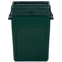Rubbermaid Slim Jim 64 Qt. / 16 Gallon Green Rectangular Trash Can with Green Drop Shot Lid