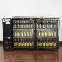 Avantco UBB-2G-HC 59 inch Black Counter Height Glass Door Back Bar Refrigerator with LED Lighting