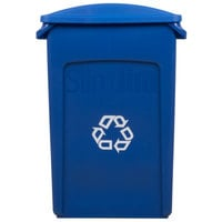 Rubbermaid Slim Jim 23 Gallon Blue Rectangular Recycling Container with Blue Slotted Lid