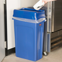 Rubbermaid Slim Jim 92 Qt. / 23 Gallon Blue Rectangular Trash Can with Blue Drop Shot Lid