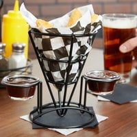 Clipper Mill by GET 4-361742 5 inch x 7 inch Black Wire Cone Basket with 2 Ramekin Holders