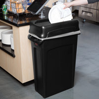 Rubbermaid Slim Jim 92 Qt. / 23 Gallon Black Rectangular Trash Can with Black Drop Shot Lid