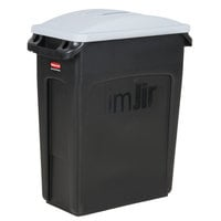 Rubbermaid Slim Jim 64 Qt. / 16 Gallon Black Rectangular Trash Can with Light Gray Handled Lid