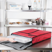 Insulated Delivery Bag, Full Size Bun / Sheet Pan Carrier, Red Vinyl, 18 inch x 26 inch x 5 inch