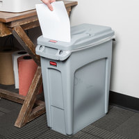 Rubbermaid Slim Jim 16 Gallon Gray Rectangular Trash Can with Light Gray Confidential Document Lid