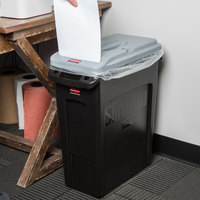 Rubbermaid Slim Jim 16 Gallon Black Rectangular Trash Can with Light Gray Confidential Document Lid