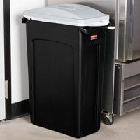 Rubbermaid Slim Jim 92 Qt. / 23 Gallon Black Rectangular Trash Can with Light Gray Handled Lid