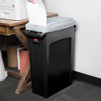 Rubbermaid Slim Jim 23 Gallon Black Rectangular Trash Can with Light Gray Confidential Document Lid