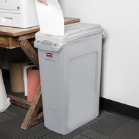 Rubbermaid Slim Jim 23 Gallon Gray Rectangular Trash Can with Light Gray Confidential Document Lid