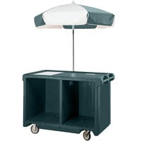 Cambro CVC55192 Camcruiser Granite Green Vending Cart with Umbrella, 1 Counter Well, and 2 Storage Compartments
