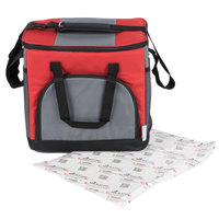 Choice Insulated Leak Proof Cooler Bag / Soft Cooler, Red 12 inch x 9 inch x 11 1/2 inch 24 Can, with Microcore Thermal Hot or Cold Pack Kit