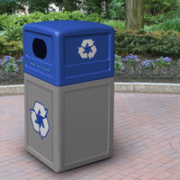 Commercial Zone 74613499 42 Gallon Gray Square Recycling Receptacle with Blue Lid and Decals
