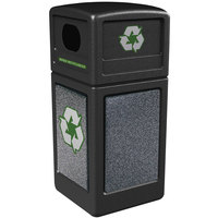 Commercial Zone 72231399 StoneTec 42 Gallon Black Recycling Container with Pepperstone Panels