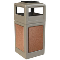 Commercial Zone 72051699 StoneTec 42 Gallon Beige Trash Receptacle with Sedona Panels and Ashtray Dome Lid