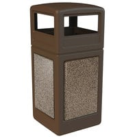 Commercial Zone 72045599 StoneTec 42 Gallon Brown Trash Receptacle with Riverstone Panels and Dome Lid