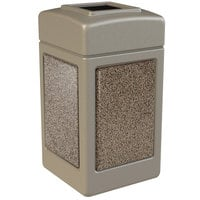 Commercial Zone 720315 StoneTec 42 Gallon Beige Trash Receptacle with Riverstone Panels
