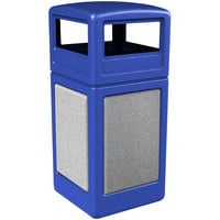 Commercial Zone 72043099 StoneTec 42 Gallon Blue Trash Receptacle with Ashtone Panels and Dome Lid