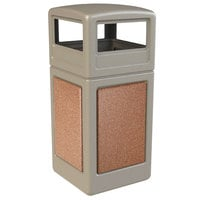 Commercial Zone 72041699 StoneTec 42 Gallon Beige Trash Receptacle with Sedona Panels and Dome Lid