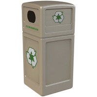 Commercial Zone 74610299 42 Gallon Beige Square Recycling Receptacle with Green Decals