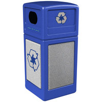 Commercial Zone 72233099 StoneTec 42 Gallon Blue Recycling Container with Ashtone Panels
