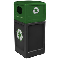 Commercial Zone 74615899 42 Gallon Black Square Recycling Receptacle with Green Lid and Decals